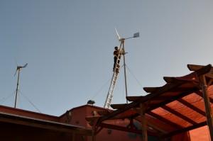 Colocando los aerogeneradores